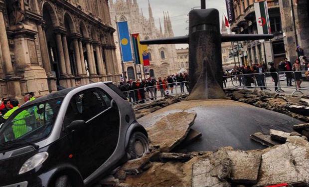 Un submarino en las calles de Milán