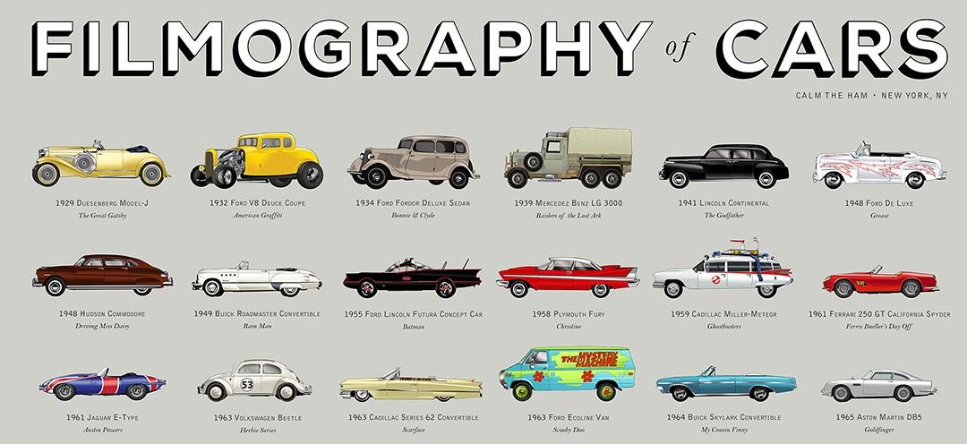 Autos icónicos ilustrados del cine y la T.V.