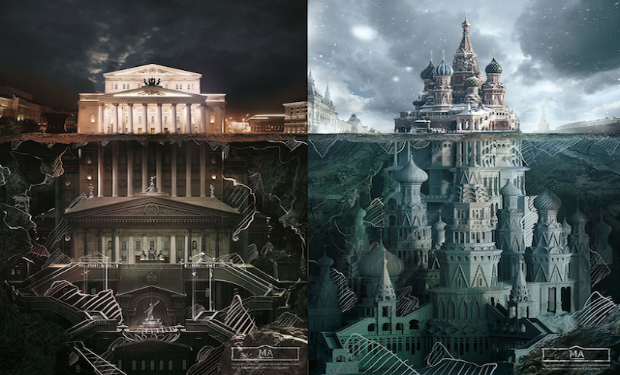 Creativa gráfica ficticia para promocionar Moscú
