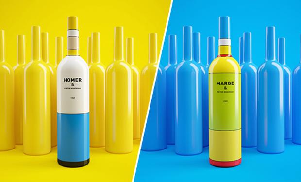 Los Simpsons en packagings de vinos
