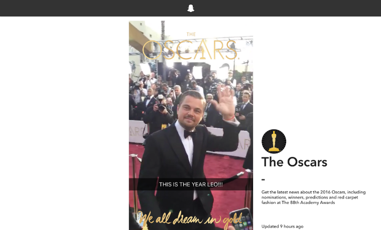 Snapchat utilizó los Óscar para lanzar su reproductor web