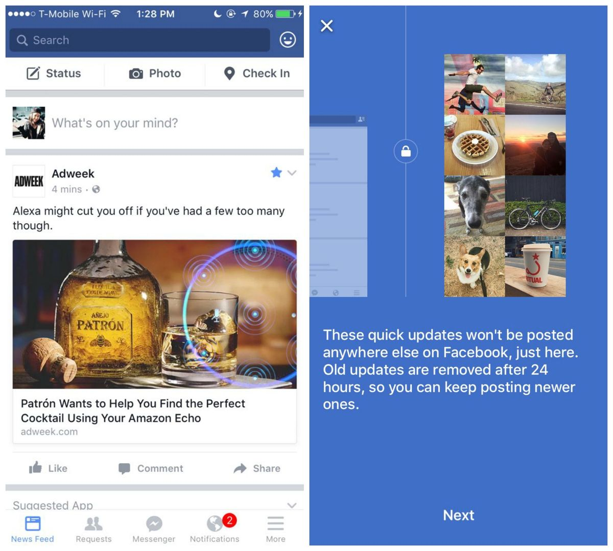 Mashable quick update from facebook
