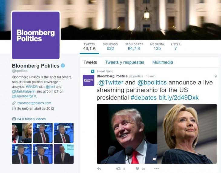 Streaming online via Twitter de los Debates Electorales en Estados Unidos