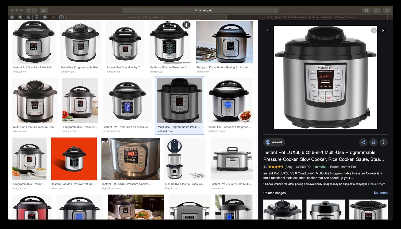 Google Images agrega un panel lateral en el escritorio