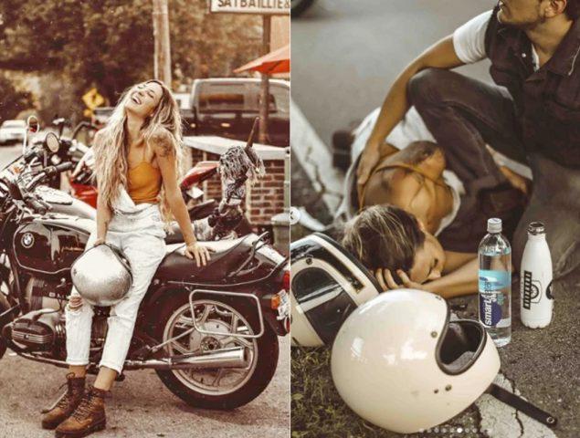 Una influencer fue acusada de transformar su accidente en moto en un posteo patrocinado