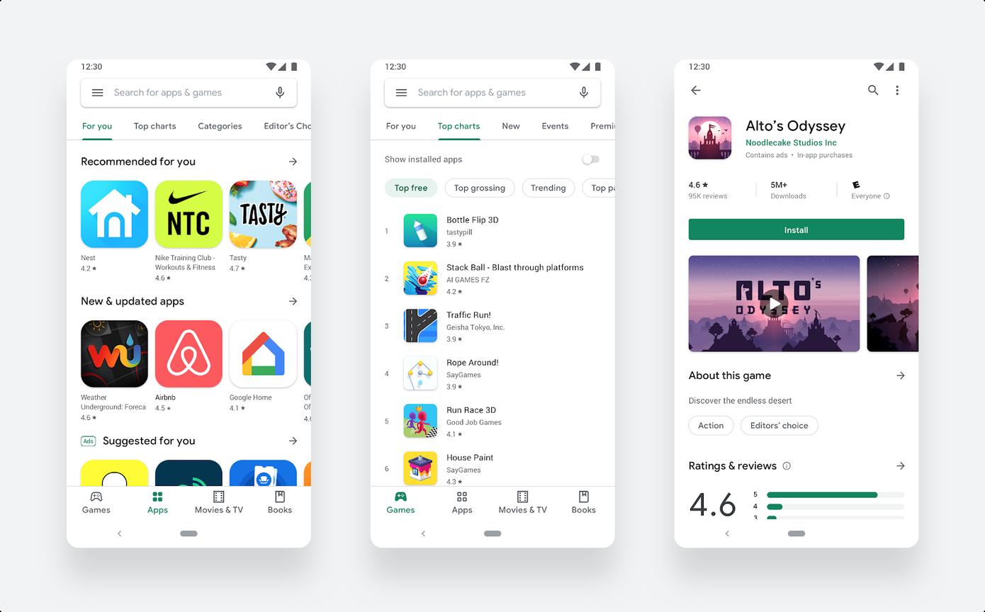 Google actualiza a un diseño más limpio y simple de Play Store