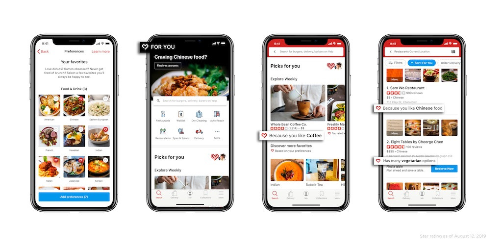 Yelp permitirá a los usuarios personalizar su página de inicio y resultados de búsqueda