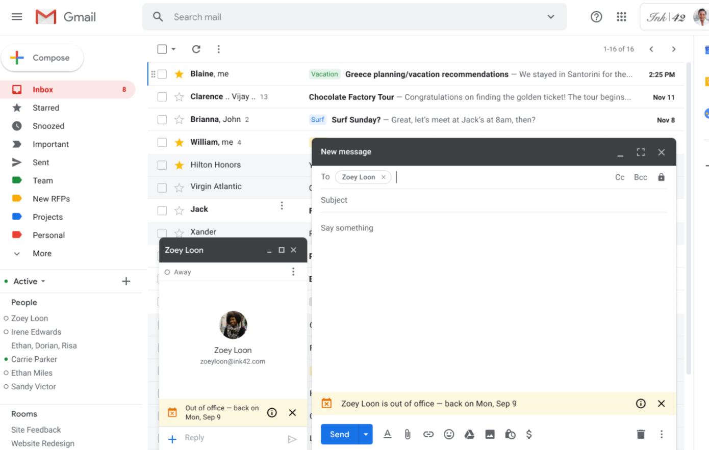 Gmail ahora puede decirle a tus compañeros de trabajo que estás de vacaciones antes de que te envíen un correo electrónico