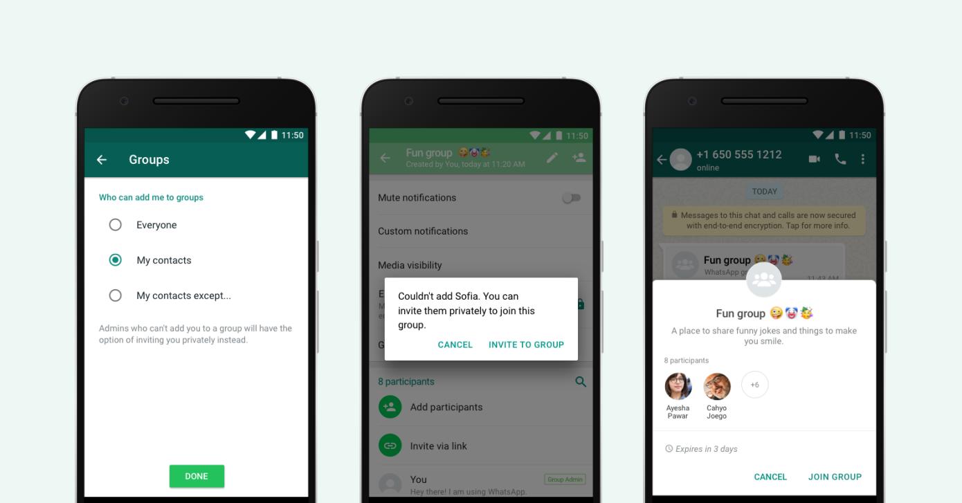 WhatsApp afirma que permitirá decidir el control al agregar usuarios a nuevos grupos