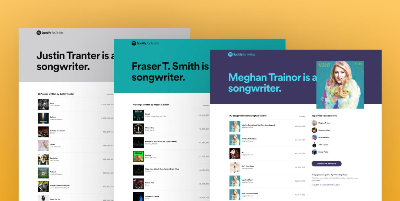 Spotify brinda a los compositores sus propias páginas y listas de reproducción