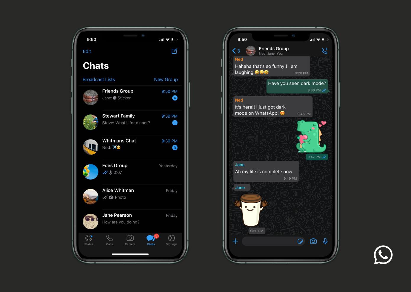 Whatsapp tiene finalmente su modo oscuro