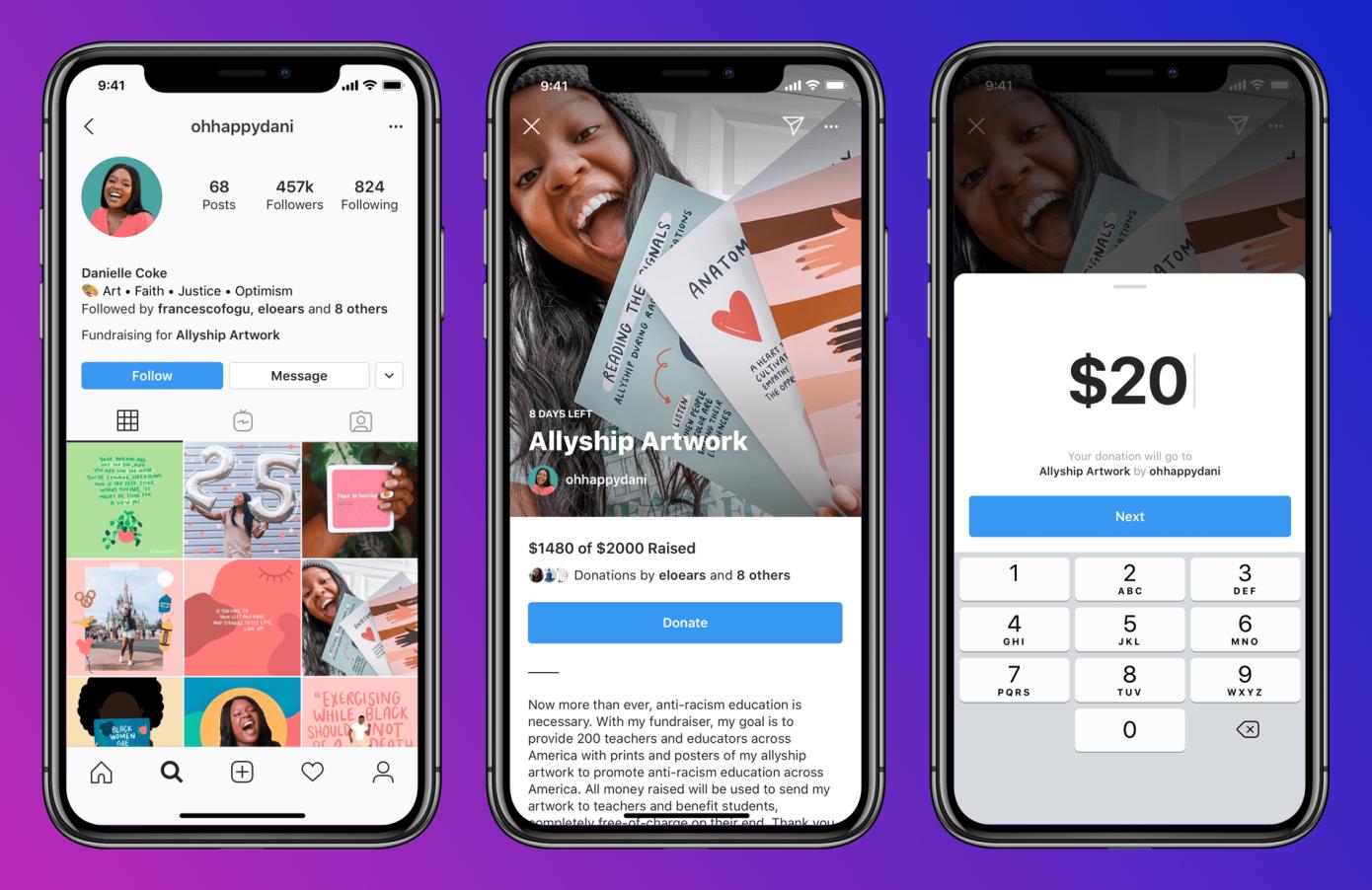"""Instagram está probando una función de """"Recaudación de fondos personales"""""""