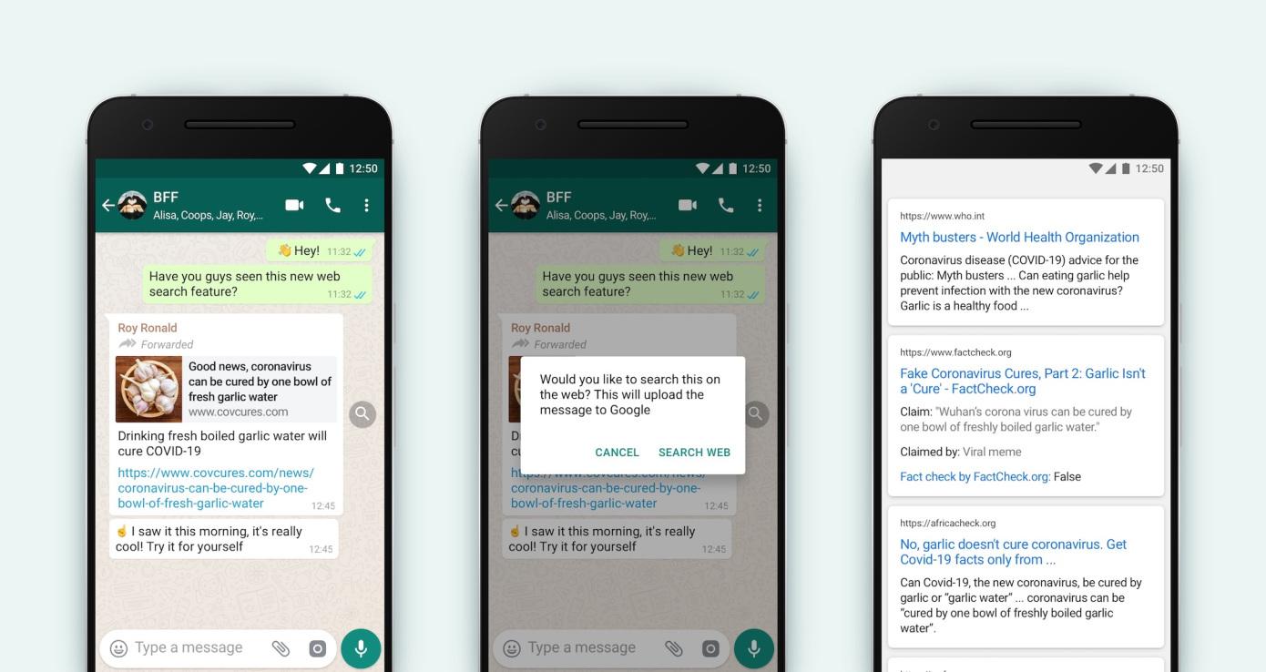 WhatsApp presenta la característica de buscar en la web para combatir la desinformación