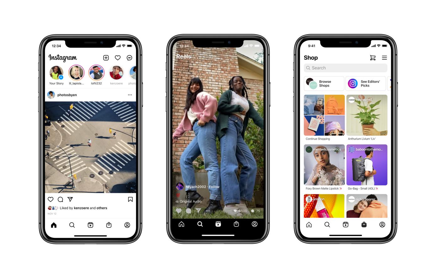 El rediseño de Instagram coloca las pestañas Reels y Shop en la pantalla de inicio