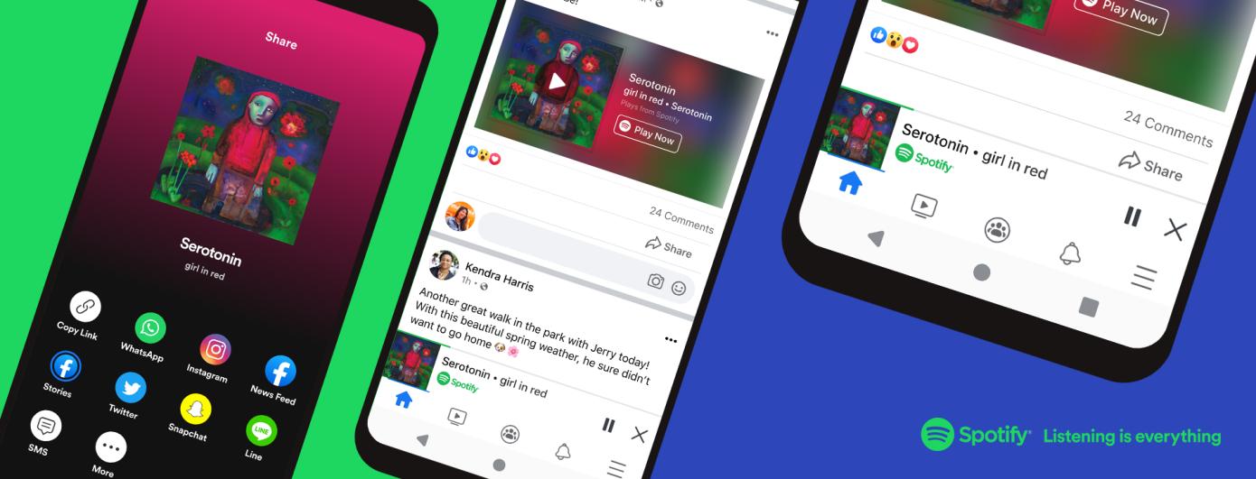 Facebook presenta un nuevo reproductor que transmite Spotify desde su aplicación