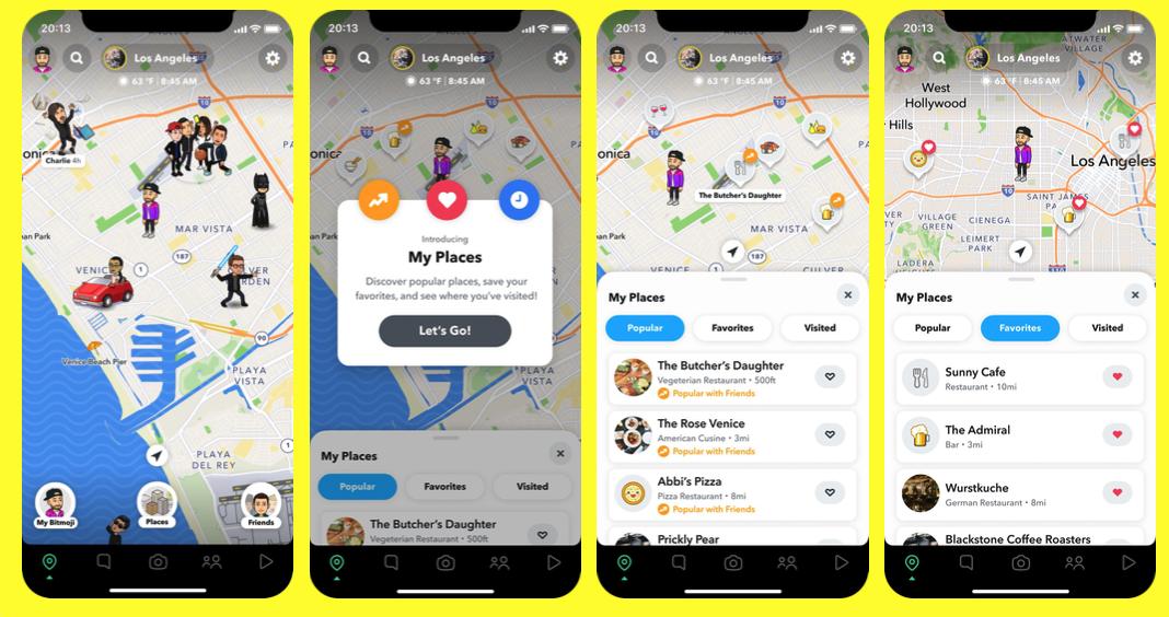 Snapchat agrega la función My Places a Snap Map para recomendar lugares por visitar