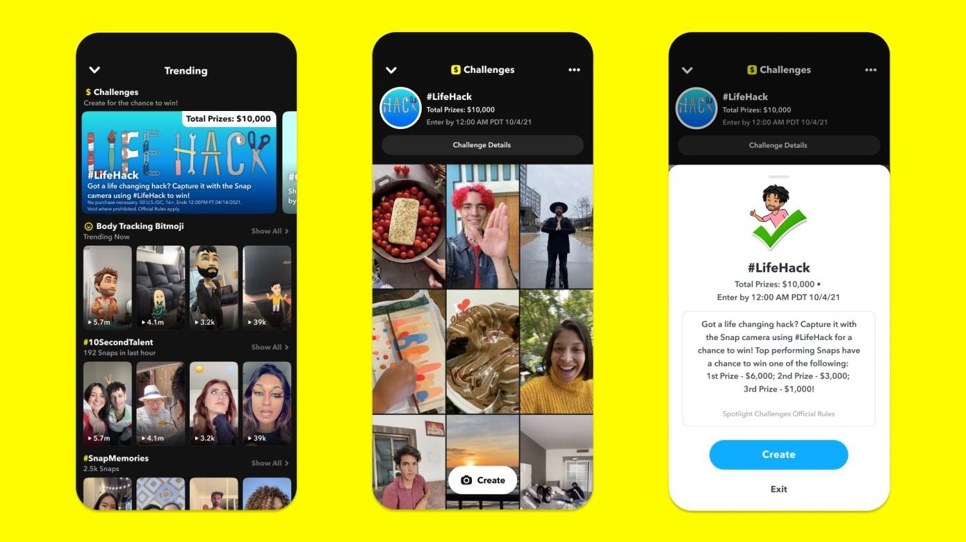 Snapchat renueva los pagos de los creadores al ofrecer la oportunidad de ganar premios con Spotlight Challenges